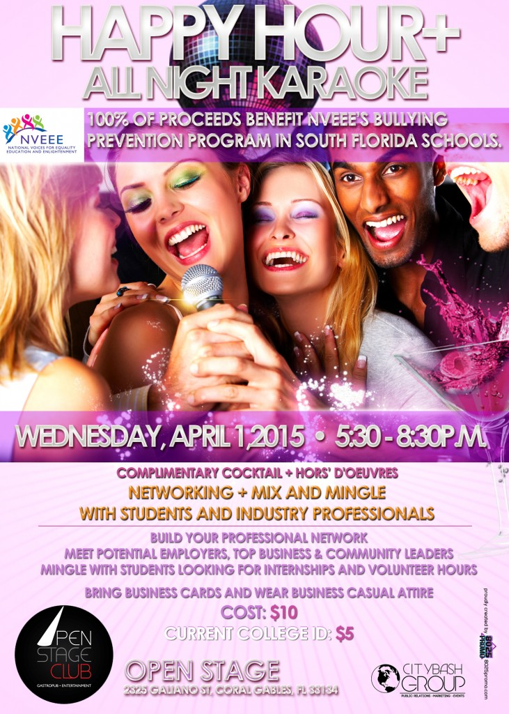 HAPPY HOUR APRIL 1 OPEN STAGE CLUB NVEEE